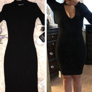 Bear Dance Long Sleeve Dress- Black